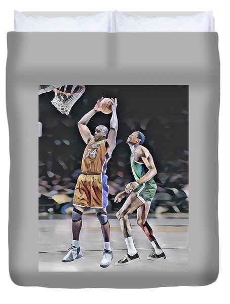 Shaquille O Neal Vs Bill Russell Abstract Art 1 Duvet Cover