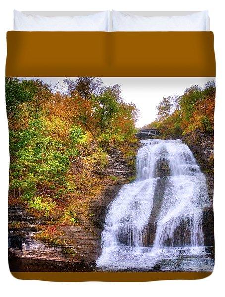 Duvet Cover featuring the photograph She-qua-ga - Montour Falls - Finger Lakes, New York by Lynn Bauer