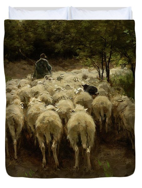 Sheep In The Forest, 1880 Duvet Cover