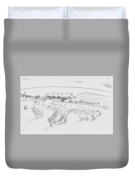 Sheep On Chatham Island, New Zealand Duvet Cover