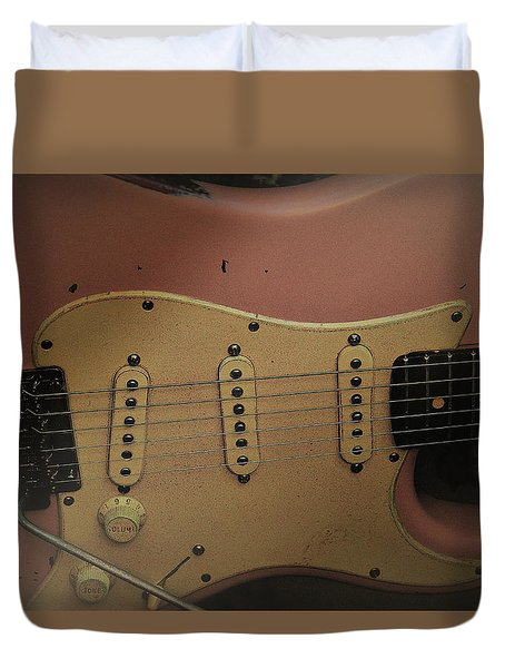 Shelly Pink Guitar Duvet Cover