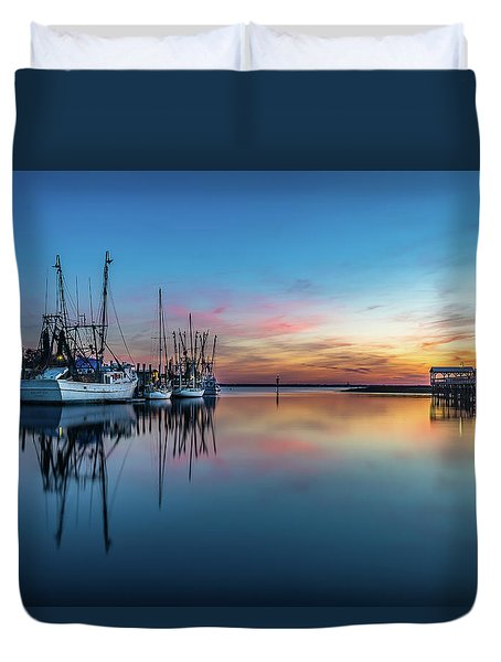 Shem Creek Blue Hour, Mt. Pleasant Sc Duvet Cover
