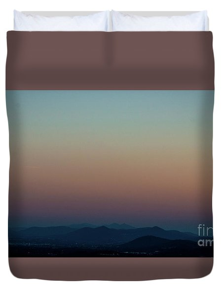 Sherbert Sunset Over The Blue Ridge Mountains Duvet Cover