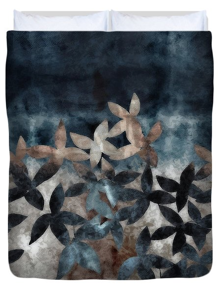 Shibori Leaves Indigo Print Duvet Cover