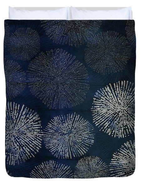 Shibori Sea Urchin Burst Pattern Dark Denim Duvet Cover
