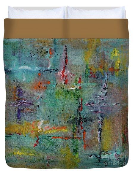Duvet Cover featuring the painting Shimmering by Karen Fleschler