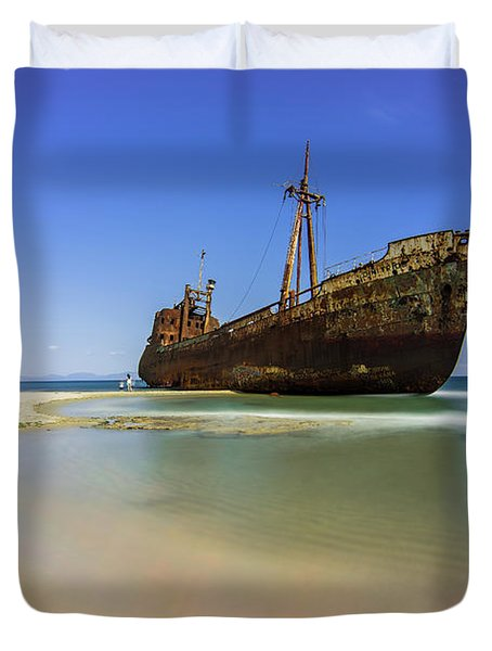 Shipwreck Dimitros Near Gythio, Greece Duvet Cover