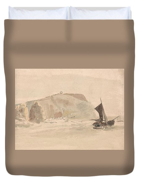 Shipwreck Off The Needles, Isle Of Wight Duvet Cover