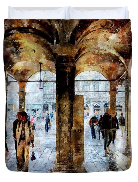 Shopping Area Of Saint Mark Square In Venice, Italy - Watercolor Effect Duvet Cover