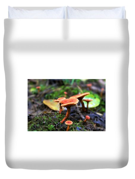 Duvet Cover featuring the photograph Shrooms by Candice Trimble