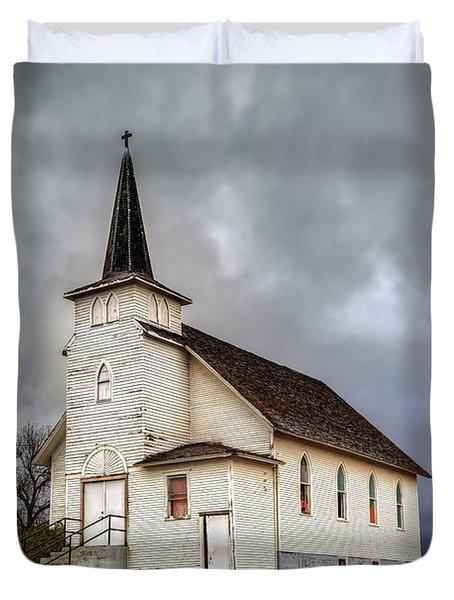Shuttered Church In Cartwright North Dakota Duvet Cover