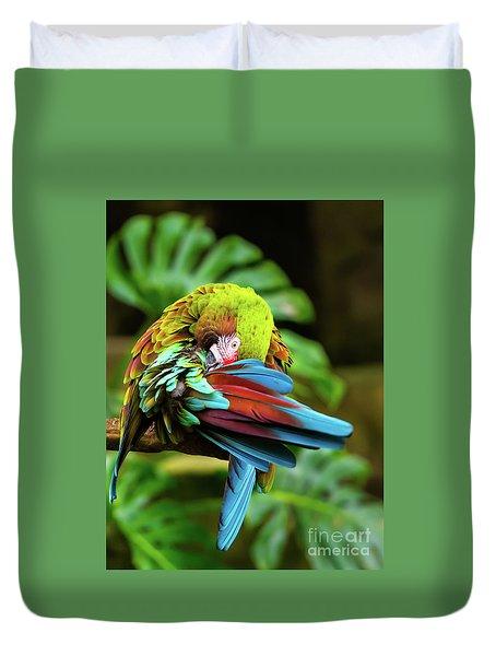 Shy Parrot Duvet Cover