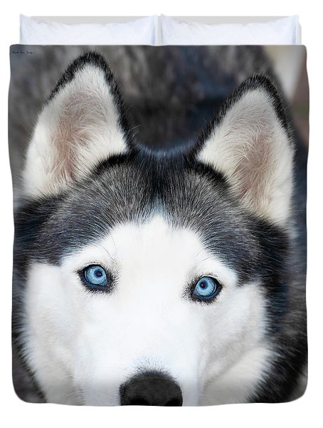 Duvet Cover featuring the painting Siberian Husky Mask A91818 by Mas Art Studio