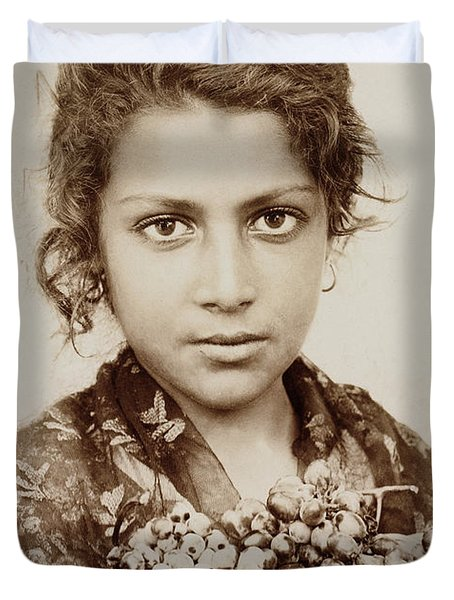 Sicilian Girl With A Bunch Of Grapes Duvet Cover