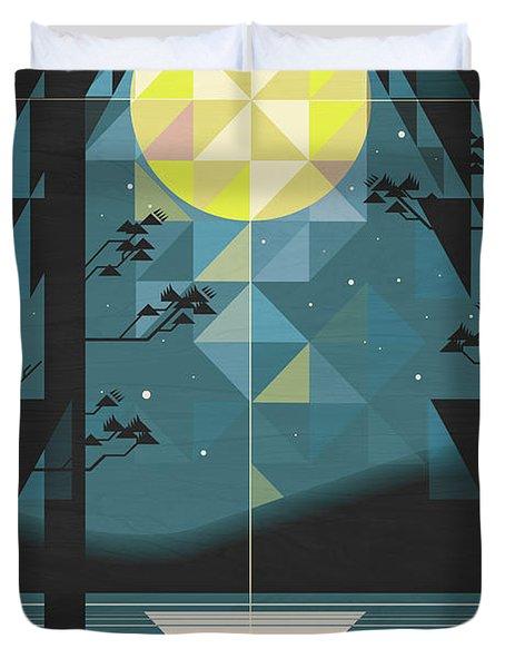 Silent Night Over Houghton Lake Michigan Duvet Cover