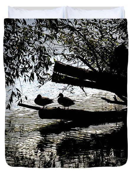 Duvet Cover featuring the photograph Silhouette Ducks #h9 by Leif Sohlman