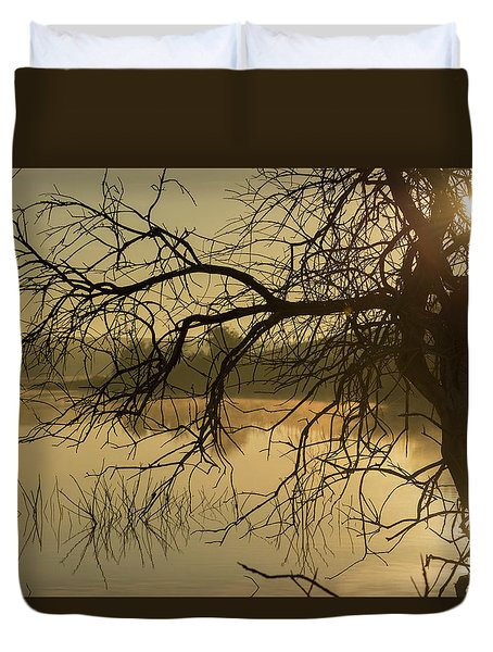 Silhouette Of A Tree By The River At Sunrise Duvet Cover