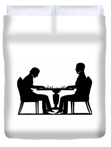 Silhouette Of Chess Players, Around 1845 Duvet Cover