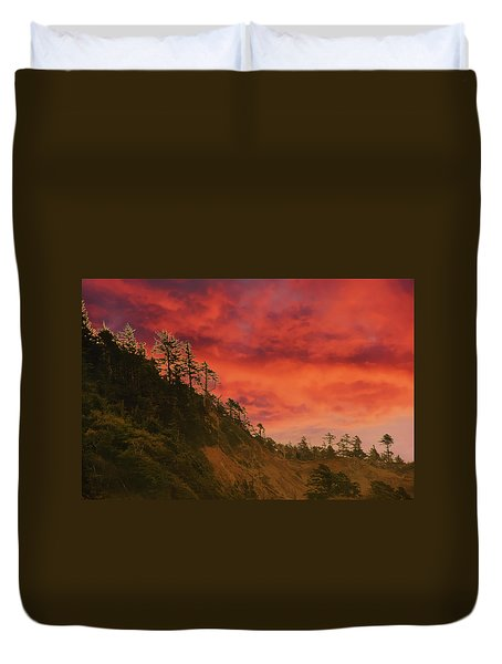 Silhouette Of Conifer Against  Seacoast  Duvet Cover