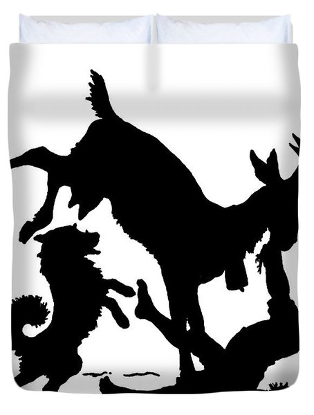 Silhouette With A Boy, Goat And A Dog By Paul Konewka Duvet Cover