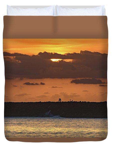 Silhouettes, Breakwall And Sunrise Seascape Duvet Cover