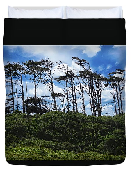 Silhouettes Of Wind Sculpted Krumholz Trees  Duvet Cover