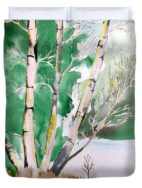 Silver Birch In Snow Duvet Cover