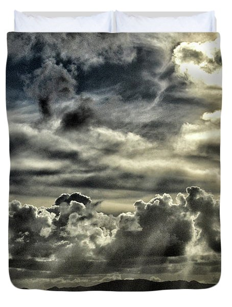 Duvet Cover featuring the photograph Silver Sun Over St. Lucia by Bill Swartwout Fine Art Photography