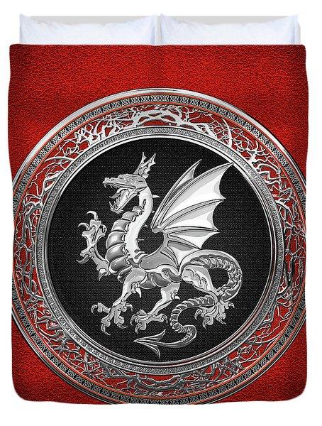 Silver Winged Norse Dragon - Icelandic Viking Landvaettir On Black And Silver Medallion Over Red  Duvet Cover