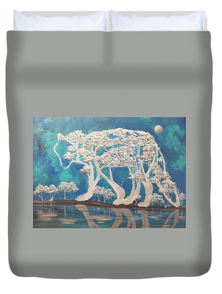 silver Wolf Duvet Cover