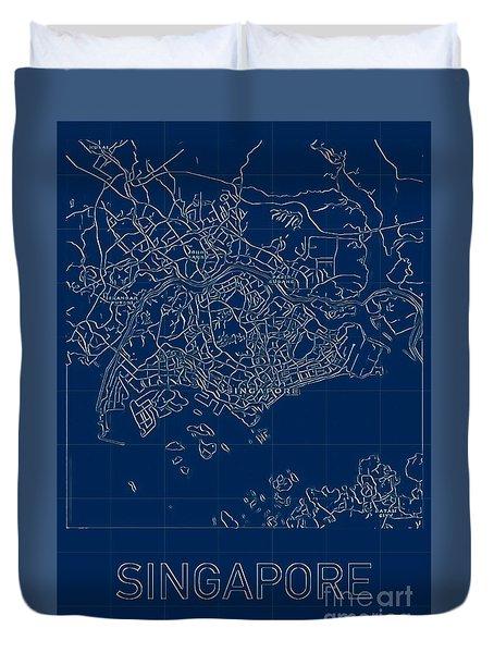 Singapore Blueprint City Map Duvet Cover