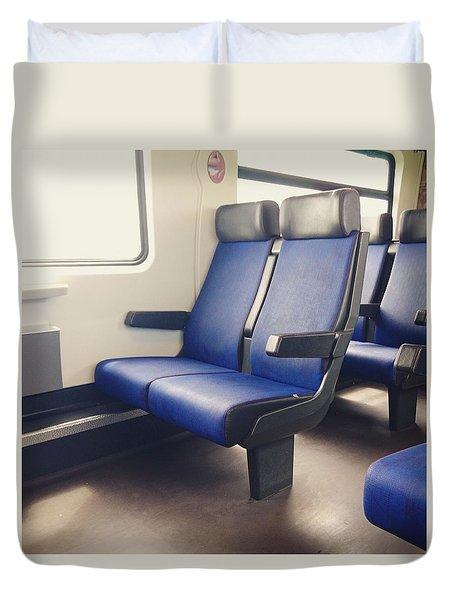 Sitting On Trains Duvet Cover