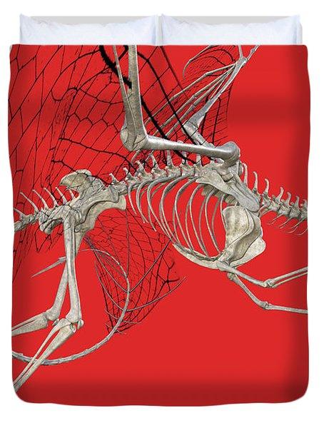 Skeleton Dragon With Red Duvet Cover