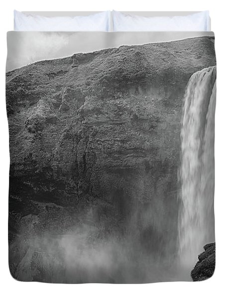 Skogafoss Iceland Black And White Duvet Cover