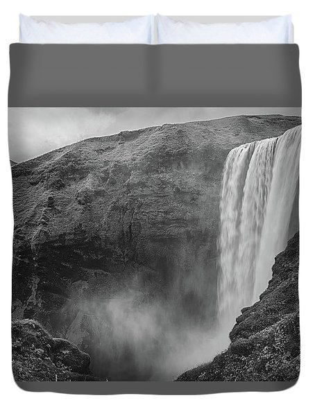 Duvet Cover featuring the photograph Skogafoss Iceland Black And White by Nathan Bush