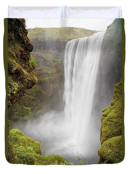 Duvet Cover featuring the photograph Skogafoss Iceland by Nathan Bush