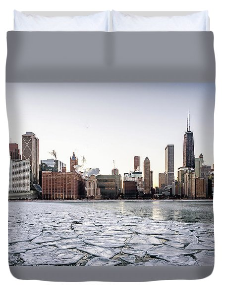 Skyline And Cracks In The Water Duvet Cover