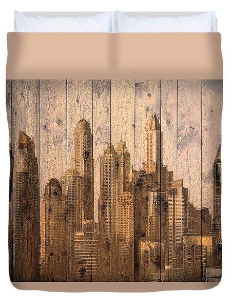 Skyline Of Dubai, Uae On Wood Duvet Cover
