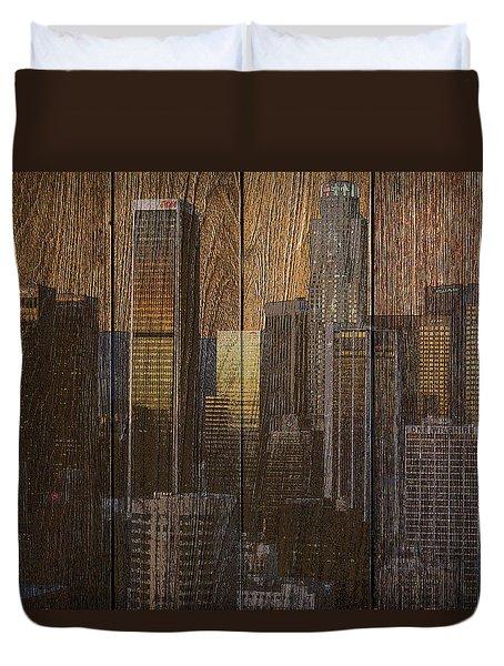 Skyline Of Los Angeles, Usa On Wood Duvet Cover