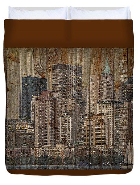 Skyline Of New York, Usa On Wood Duvet Cover
