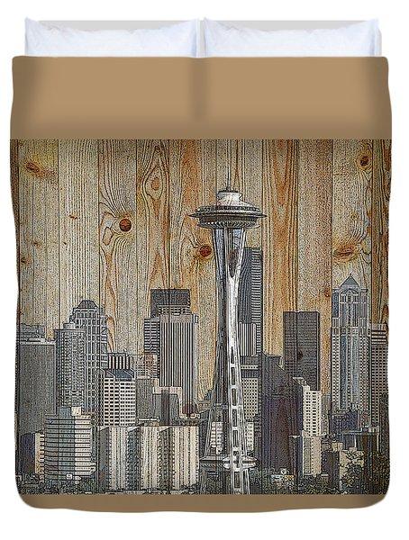 Skyline Of Seattle, Usa On Wood Duvet Cover