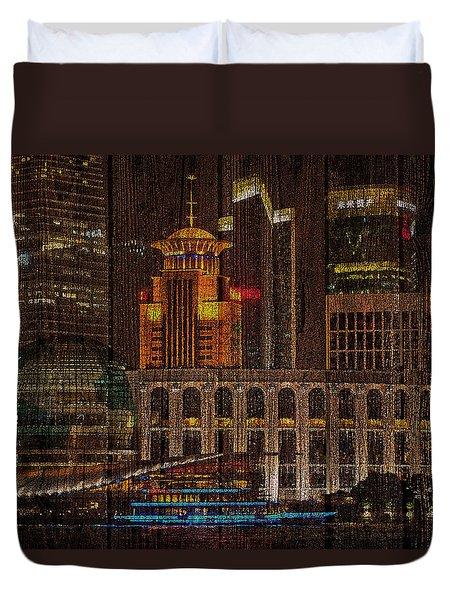 Skyline Of Shanghai, China On Wood Duvet Cover