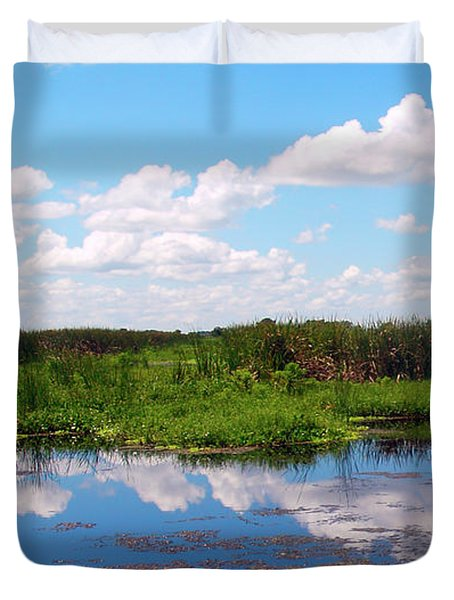 Skyscape Reflections Blue Cypress Marsh Near Vero Beach Florida C6 Duvet Cover