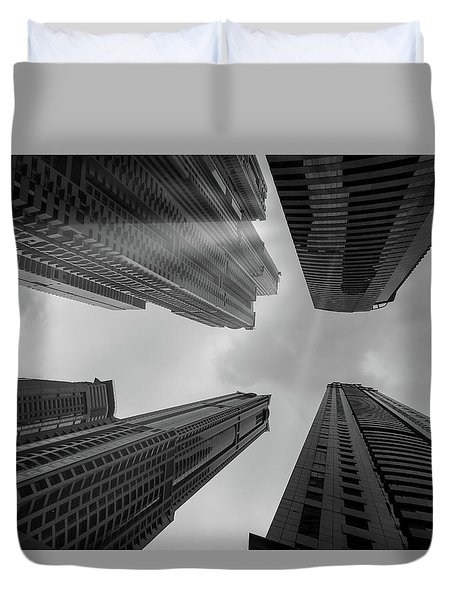Skyscrapers Reach The Heaven Duvet Cover