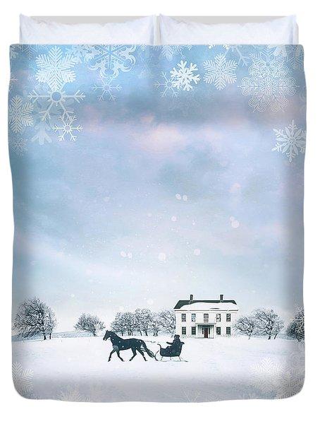 Sleigh With Horse In Snow Winter Scene Duvet Cover