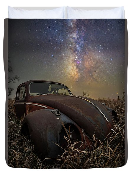 Duvet Cover featuring the photograph Slug Bug 'rust' by Aaron J Groen