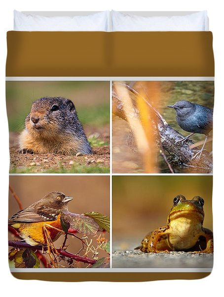 Small Animal Collage Duvet Cover