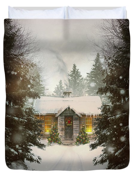 Small Cabin In A Snow Covered Forest Duvet Cover