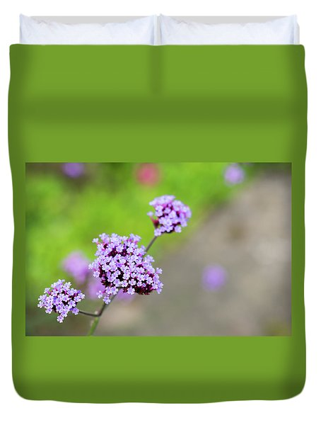 Duvet Cover featuring the photograph Small Purple Flowers by Scott Lyons