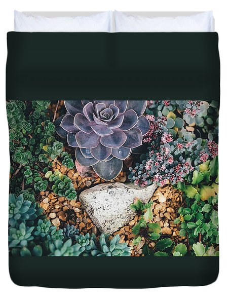 Duvet Cover featuring the photograph Small Succulent Garden by Top Wallpapers